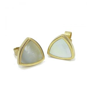 Mother of pearl triangular gold stud earring