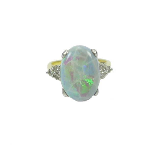 Opal diamond yellow gold cluster ring