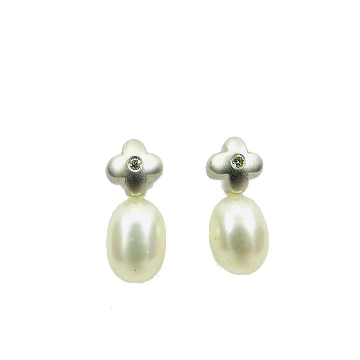 Pearl diamond cross stud earrings