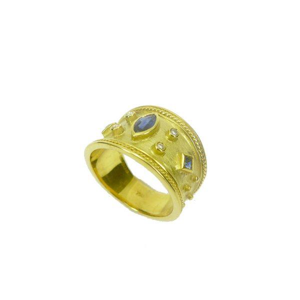 Byzantine style sapphire diamond ring