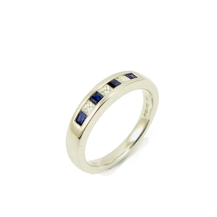 Princess cut diamond sapphire half eternity ring