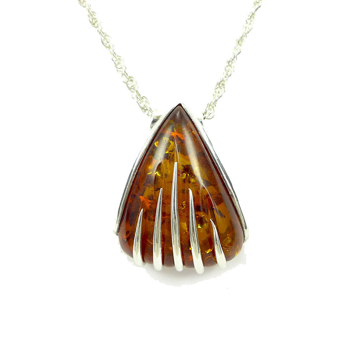 amber teardrop pendant necklace com stauer item