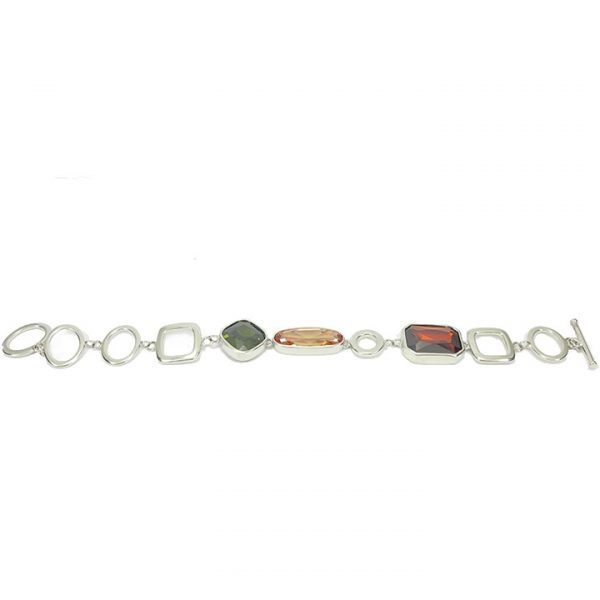 Silver cubic zirconia geometric style bracelet