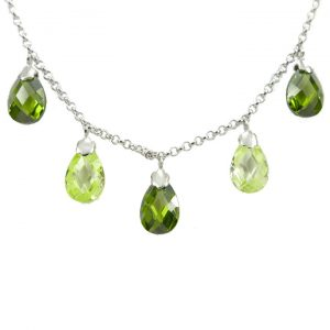 Cubic zirconia pear drop necklace
