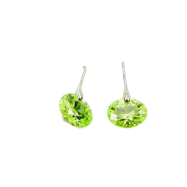 Sterling silver green cubic zirconia earrings
