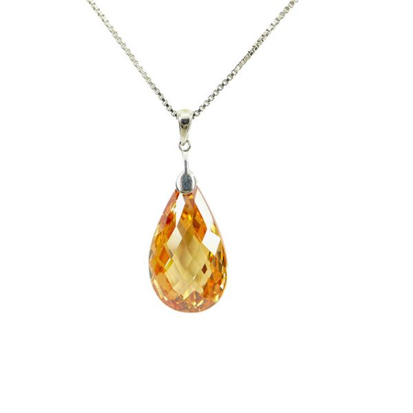 Marmalade colour cubic zirconia peardrop sterling silver pendant and chain