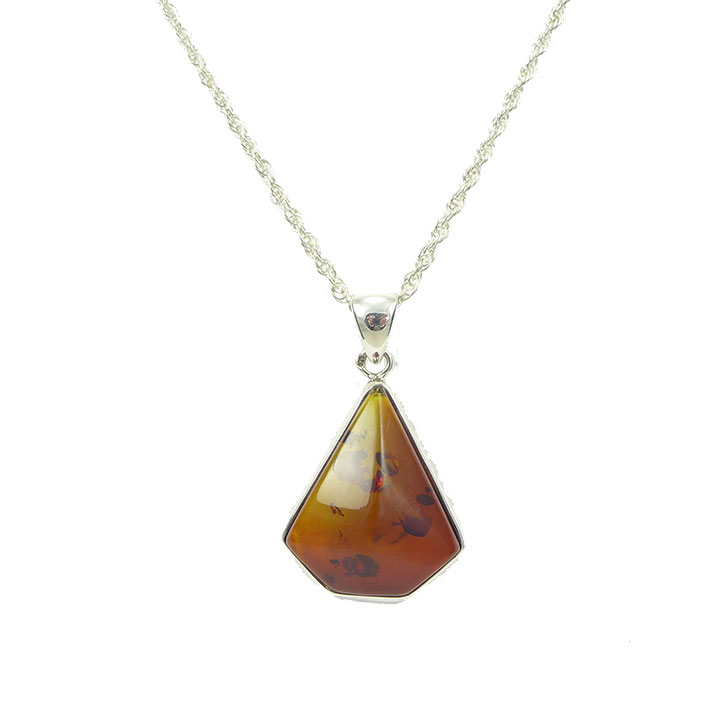 Amber Sterling Silver Triangular Earrings Pendant Necklace Set Chain 18