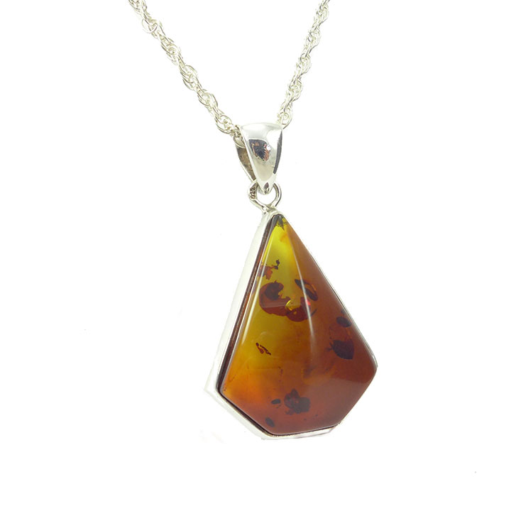 Amber faceted cut pendant and chain