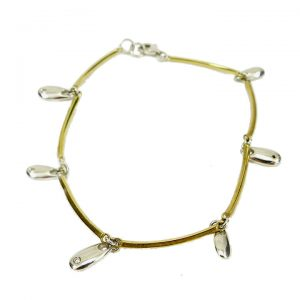 Yellow white gold diamond drop bracelet