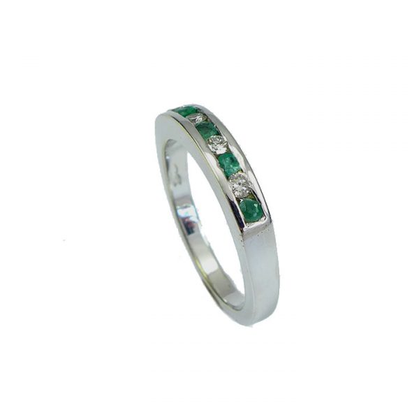 Emerald diamond half eternity ring