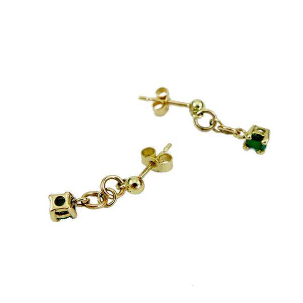 Emerald yellow gold drop earrings