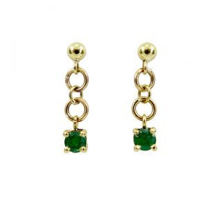 Emerald yellow gold drop earrings