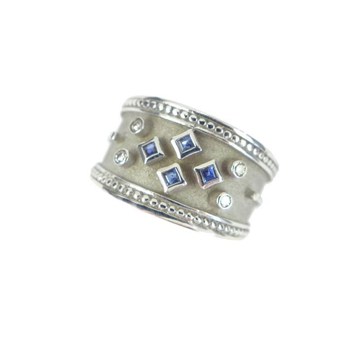 Sapphire diamond byzantine style ring