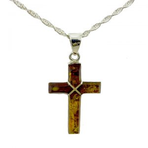 Amber cross and chain