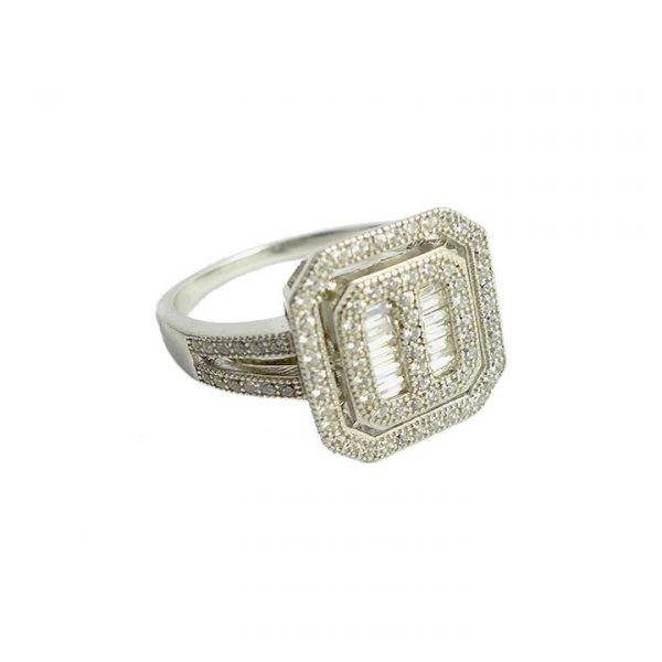 Cubic zirconia and silver halo ring