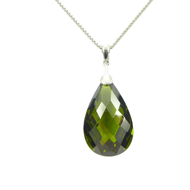 Olive green cubic zirconia pendant and chain