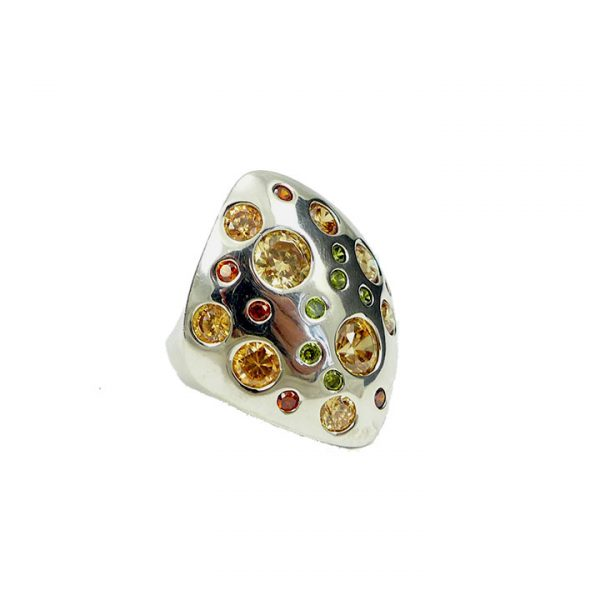 Silver and cubic zirconia dress ring