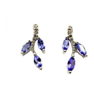 Tanzanite diamond and white gold earrings