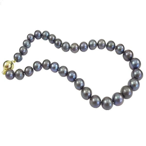 Cultured black freshwater pearl necklet