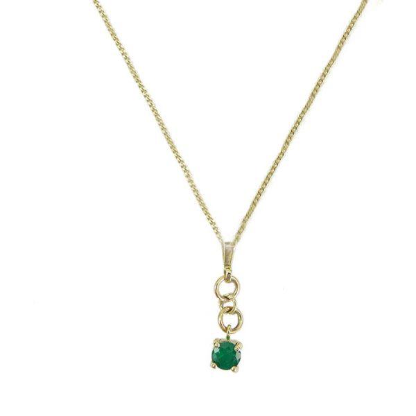 Emerald yellow gold pendant