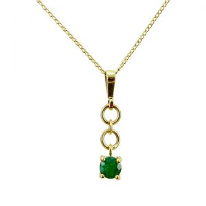 Emerald yellow gold pendant