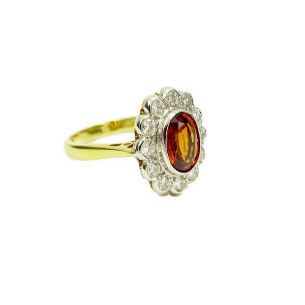 Garnet diamond cluster ring