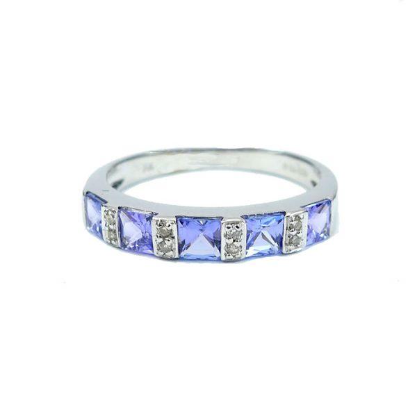 Diamond and tanzanite half eternity ring