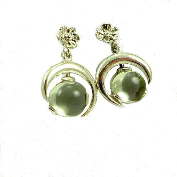 Green amethyst silver half moon drop earrings