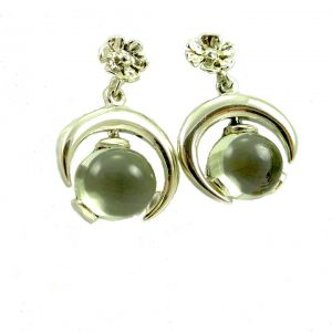 Green amethyst silver half moon drop earrings