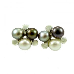 Silver pearl cluster stud earrings
