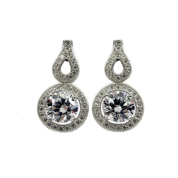 Cubic Zirconia solitaire halo stud earring