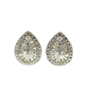 Cubic Zirconia pear shape stud earrings