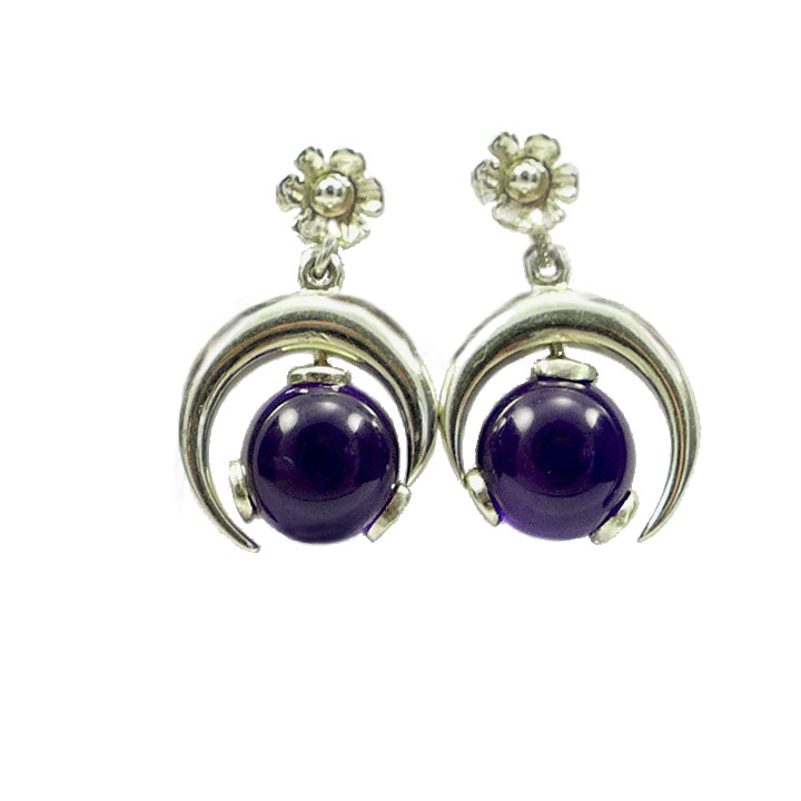Sterling silver and Amethyest half moon drop earrings